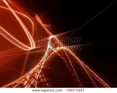 Abstract background element. Fractal graphics series. Three-dimensional composition of wave shapes and grids. Science and technology concept. Red and black colors.