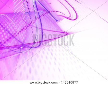 Abstract background element. Fractal graphics series. Three-dimensional composition of glowing lines and mosaic halftone effects. Information and energy concept. Violet and white colors.