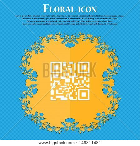 Barcode Icon Icon. Floral Flat Design On A Blue Abstract Background With Place For Your Text. Vector
