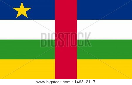 Flag of the Central African Republic in correct size proportions and colors. Accurate official standard dimensions. Central Africa national flag. African patriotic symbol banner element. Vector