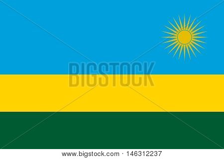 Flag of Rwanda in correct size proportions and colors. Accurate official standard dimensions. Rwandan national flag. African patriotic symbol banner element background. Vector illustration
