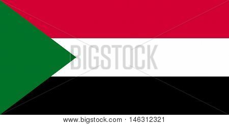 Flag of Sudan in correct size proportions and colors. Accurate official standard dimensions. Sudanese national flag. African patriotic symbol banner element background. Vector illustration