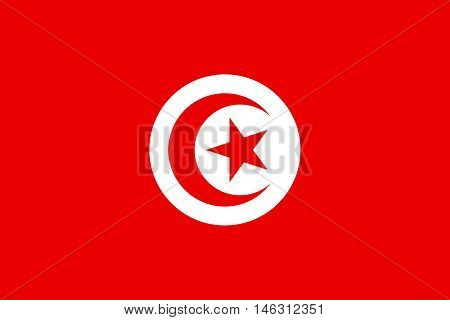 Flag of Tunisia in correct size proportions and colors. Accurate official standard dimensions. Tunisian national flag. African patriotic symbol banner element background. Vector illustration