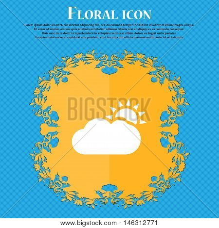 Partly Cloudy Icon Icon. Floral Flat Design On A Blue Abstract Background With Place For Your Text.