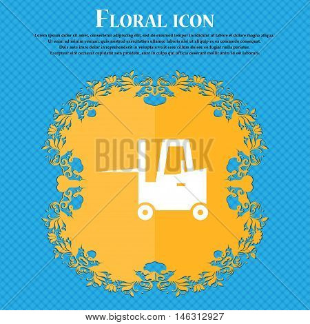Forklift Icon Icon. Floral Flat Design On A Blue Abstract Background With Place For Your Text. Vecto