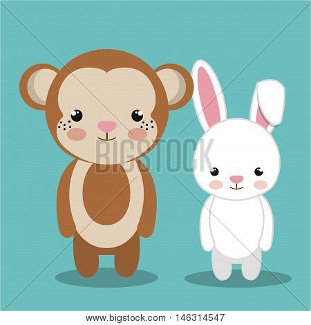 cartoon animal monkey rabbit plush stuffed design vector illustration eps 10
