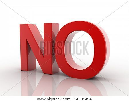 Digital illustration of no in 3d on white background