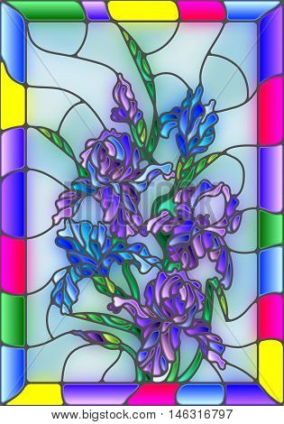Illustration in stained glass style with flowers buds and leaves of iris