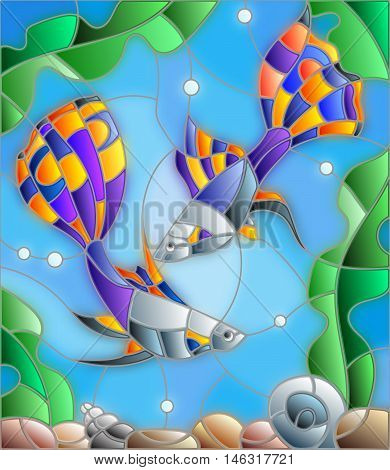 Illustration in stained glass style with a pair of guppies on the background of water and algae