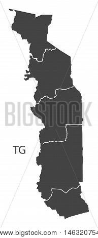 Togo grey map with regions isolated vector high res