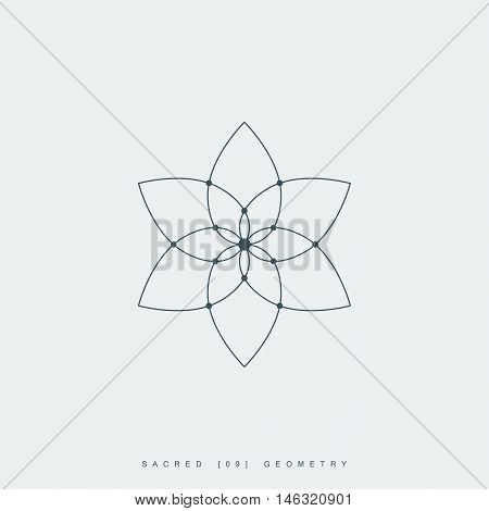 flower of life. sacred geometry. lotus flower. mandala ornament. esoteric or spiritual symbol. isolated on white background. vector illustration