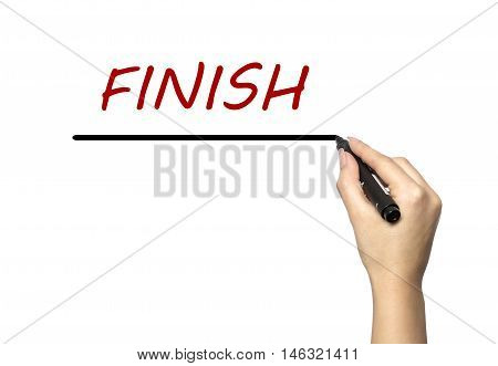 Woman with a marker word finish spelled on a white background