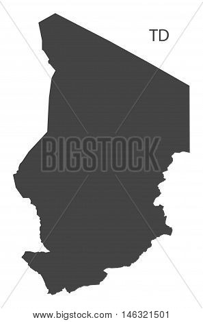 Chad grey map isolated vector high res