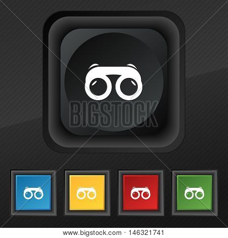 Binoculars Icon Symbol. Set Of Five Colorful, Stylish Buttons On Black Texture For Your Design. Vect