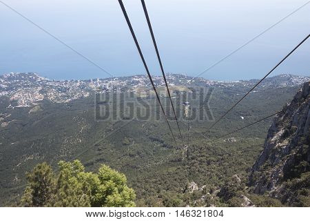 Mountain landscape recorded in Crimea Ukraine aerial cableway on I-Petri mountain.