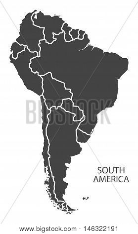 South America complete continent with country borders grey map isolated vector