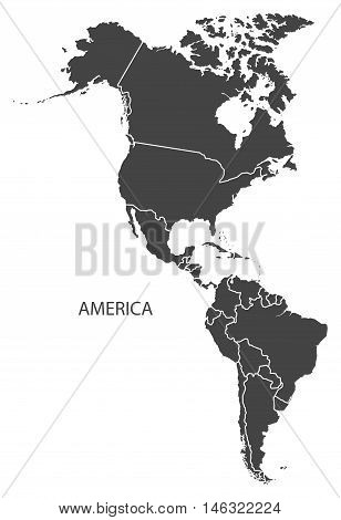 America complete continent with country borders grey map isolated vector