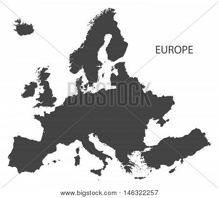 Europe complete continent grey map isolated vector