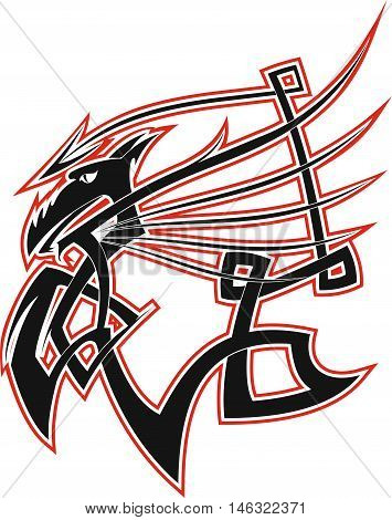 The image in the form of stylized Celtic Dragon with swing wings