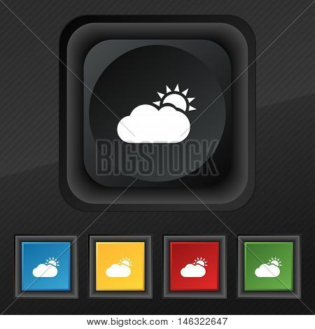 Partly Cloudy Icon Symbol. Set Of Five Colorful, Stylish Buttons On Black Texture For Your Design. V