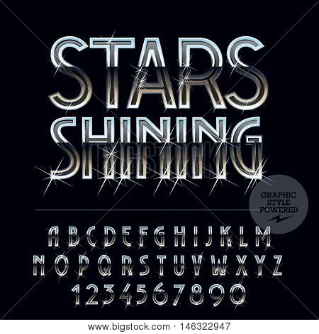 Silver luxury reflective vector set of letters, symbols and numbers