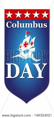 Happy Columbus Day banner illustration on white background