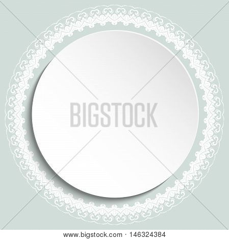 Nice white frame with floral elements and arabesques. Fine greeting card