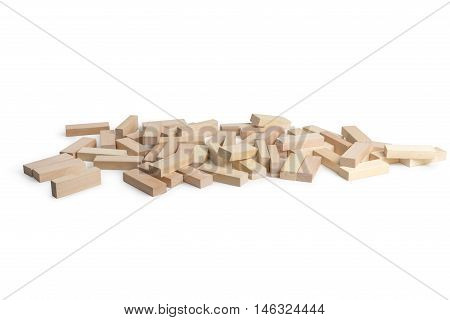Scattered bars to play Jenga on a white background