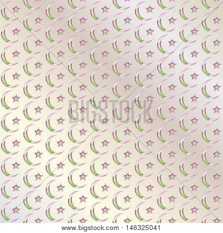 Islamic ethnic ornaments. Abstract pattern in Arabian style. The crescent and star. Religious traditions. Elegant background for cards invitations. Vector illustration.