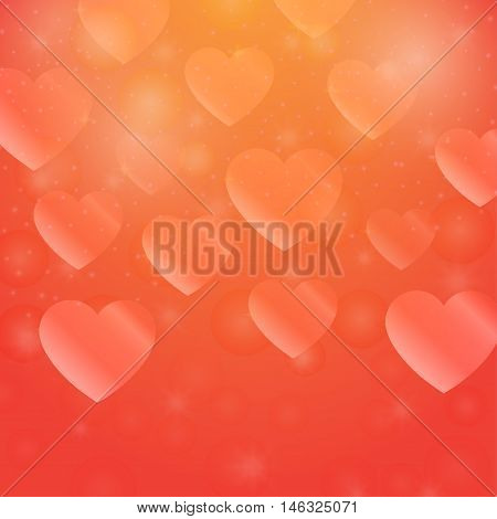 Abstract shapes love. Decorative symbol with hearts. Bright wallpaper bokeh. Romantic art. Valentine's Day backdrop. Festive creative background. Simple graphic backdrop. Vector.