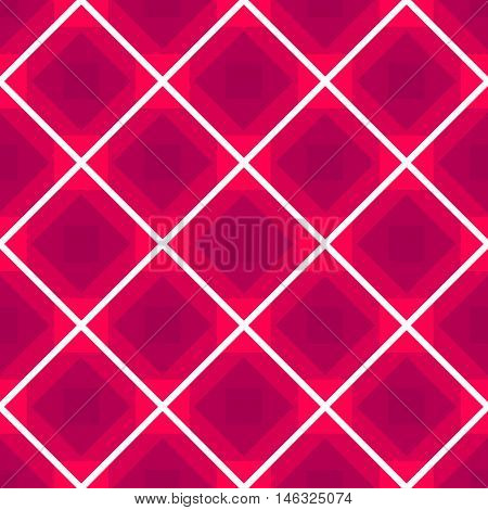 Seamless checkered tablecloth vector background with rhombus pink color pattern, repeated backdrop with abstract geometric rhomb ornament for fabric design