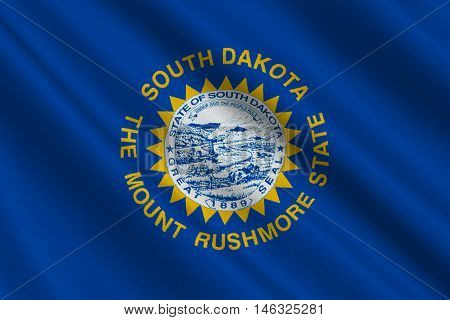 Flag of South Dakota is a state of United States. 3D illustration