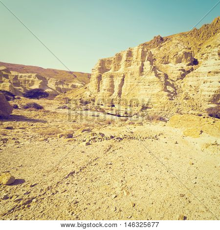 Canyon and Rocky Hills of the Negev Desert in Israel Instagram Effect