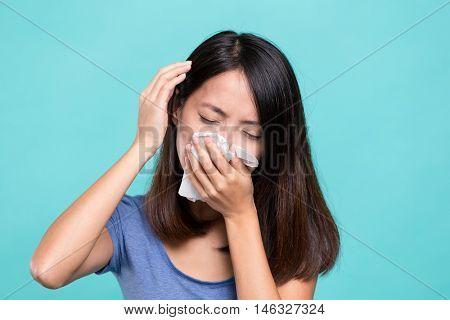 Woman feeling unwell and headache