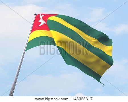 Togo flag flying on clear sky. 3d rendering