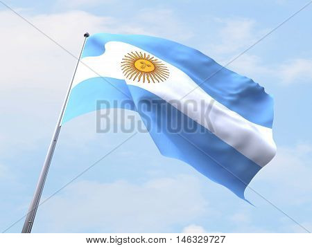 Argentina flag flying on clear sky. 3d render image