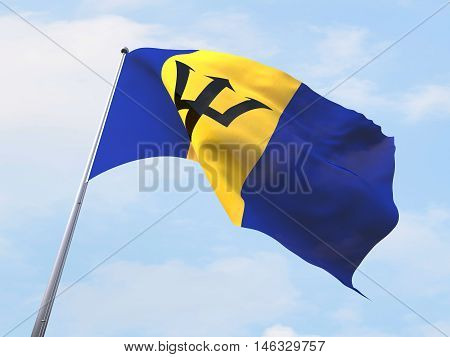 Barbados flag flying on clear sky. 3d rendering