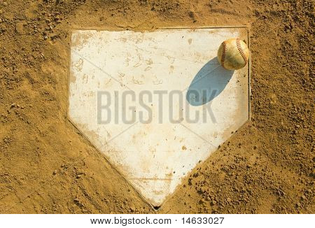 Old baseball on home plate surrounded by dirt, plenty of copy space