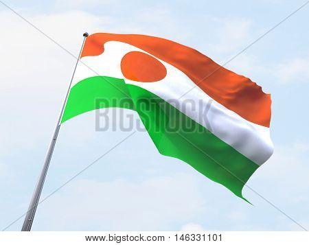 Niger flag flying on clear sky. 3d rendering