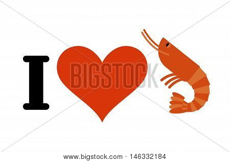 I Love Shrimp. Heart And Marine Plankton. Logo For Seafood Lovers. Gourmet Logo
