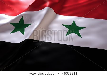 Syria flag background , 3d rendering image