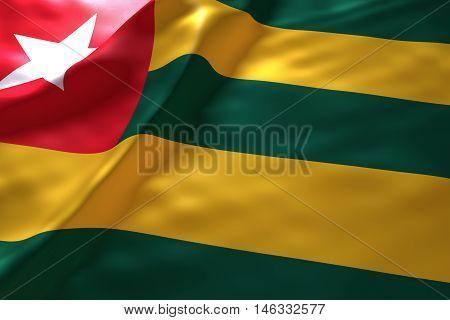 Togo flag background , 3d rendering image