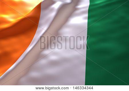 Ivory Coast flag background , 3d rendering image