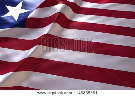 Liberia flag background , 3d rendering image