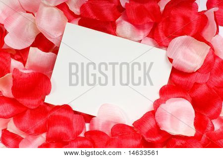 Rose petal notecard for use at valentine's day, sweetest day or for any romantic invitation or announcement