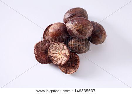 nutmeg on the white background