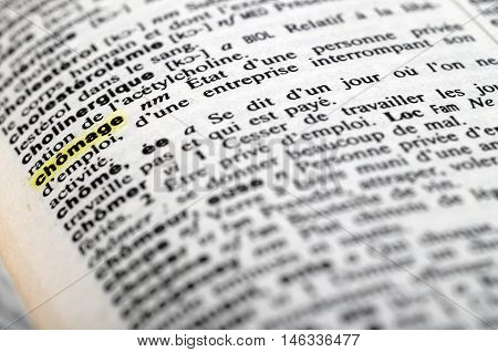 Close Up Of French Dictionary