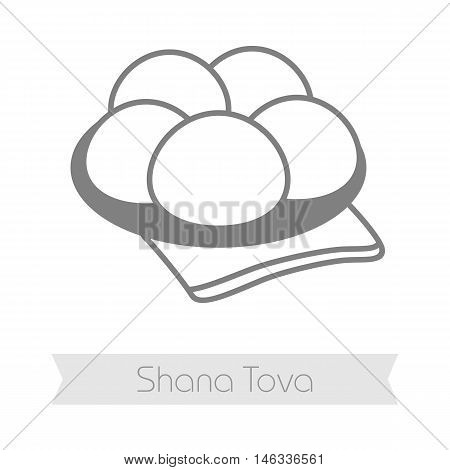 Hanukkah doughnut. Traditional Jewish holiday food. Rosh Hashanah icon. Shana tova. Happy and sweet new year in Hebrew