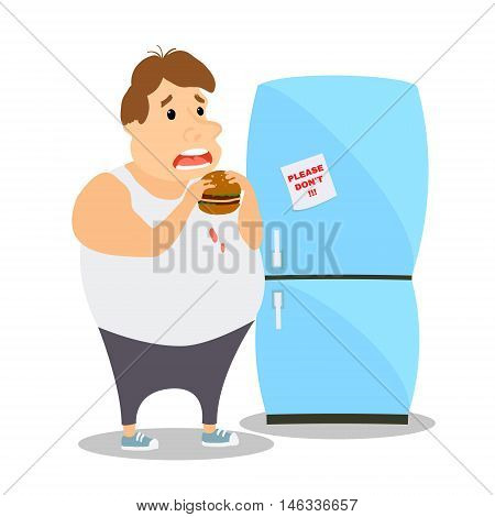 Cartoon Fat Man eating Burger near the refrigerator. Vector illustration