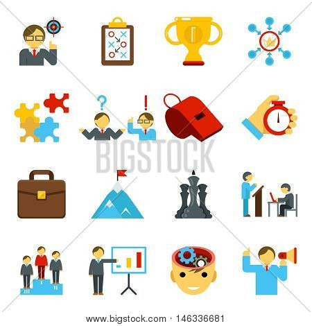 Mentoring and training flat icons, skills coaching signs for business strategy. Vector illustration